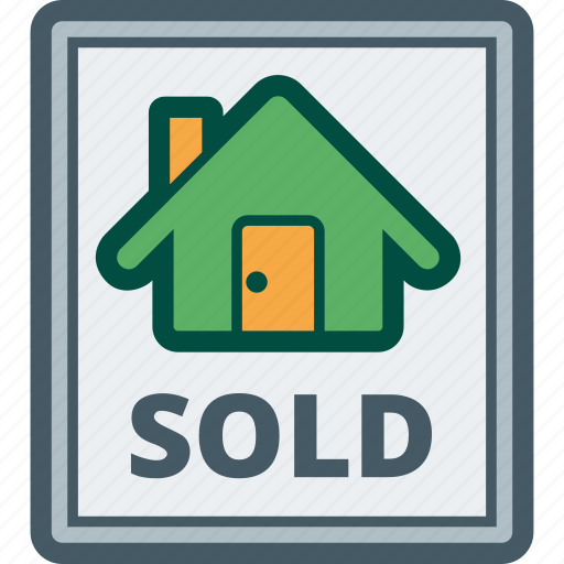 estate, house, real, sign, sold icon