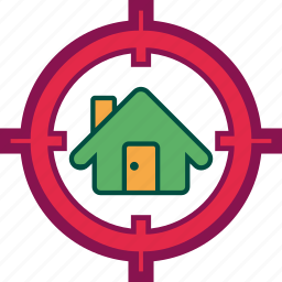 home, house, hunt, property, seek, target icon