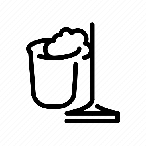 bucket, clean, cleaning, household, mop icon