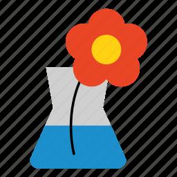 colored, decor, flower, flower in vase, household, stem, vase icon