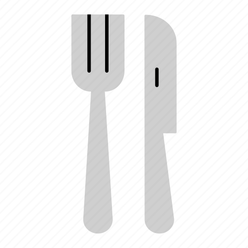 colored, cutlery, eating, fork, household, knife, meal icon