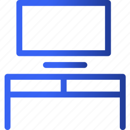appliances, desk, furniture, home, household, on, television icon
