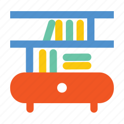 book, book shelf, draw, reading, reading table, shelf, table icon