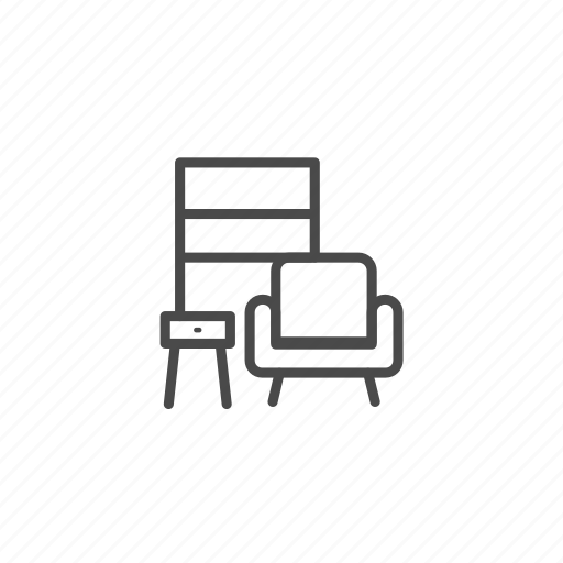 armchair, chair, furniture, households, interior, living room, shelves icon