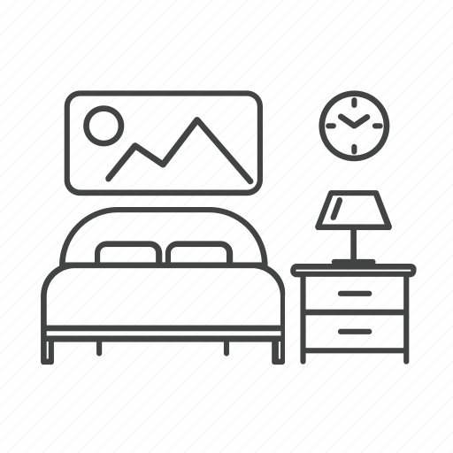 bed, bedroom, clock, frame, furniture, lamp, table icon