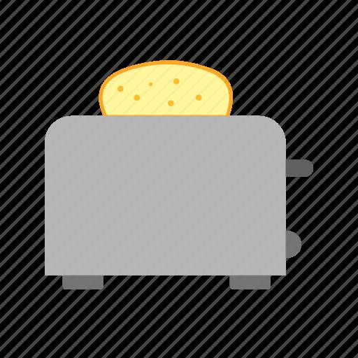 bread, breakfast, food, kitchen, meal, toast, toaster icon