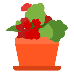flower, house, plant, pot, red icon