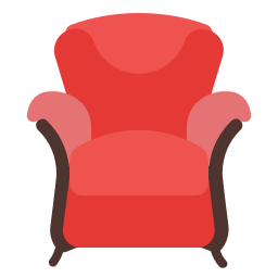 armchair, furniture, house, households, red icon