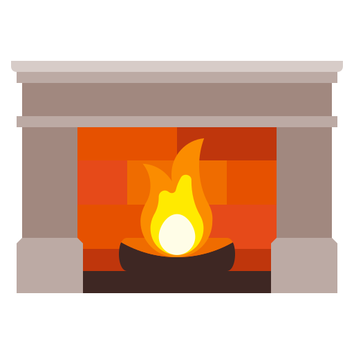 fire, fireplace, home, interior, villa icon
