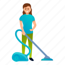 business, cleaner, person, use, vacuum, woman