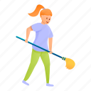 cleaning, family, flower, girl, mop, take