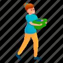 basket, clothes, girl, person, take, woman
