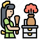 cleaning, housemaid, dusting, housework, room icon