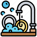 clean, dishes, kitchen, plate, washing icon