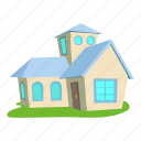 building, cartoon, door, front, home, house, roof icon
