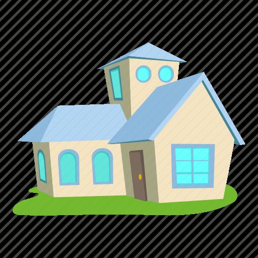 building, cartoon, door, front, home, house, roof icon