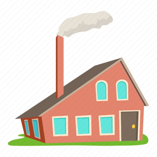 building, cartoon, front, home, house with chimney, logo, roof icon