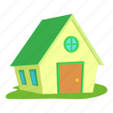 building, cartoon, front, home, logo, ranch, roof icon