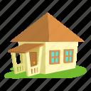 building, bungalow, cartoon, door, front, home, roof icon