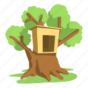 building, cartoon, front, home, logo, roof, tree house icon