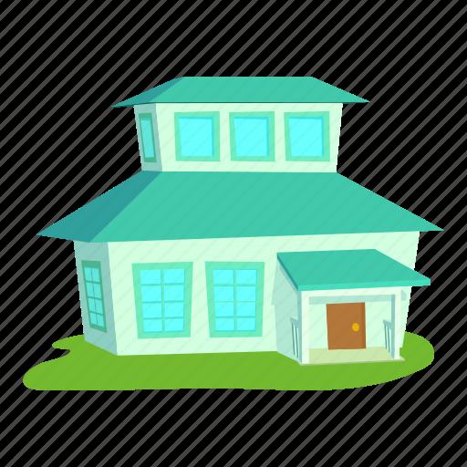 big house, building, cartoon, door, front, home, roof icon