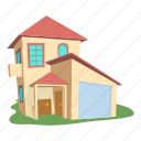 building, cartoon, front, home, logo, modern house, roof icon