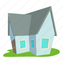 cartoon, cottage, door, front, home, logo, roof icon