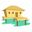 beach, cartoon, house, hut, logo, tropical, tropical house icon