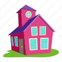 building, cartoon, colored house, front, home, logo, roof icon