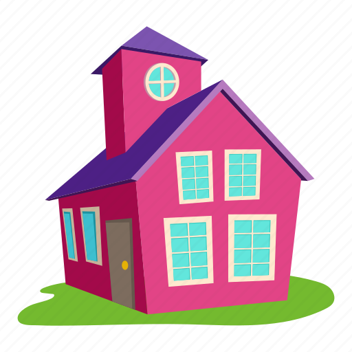 Building Roof Logo Front Home Colored House Cartoon Icon Download