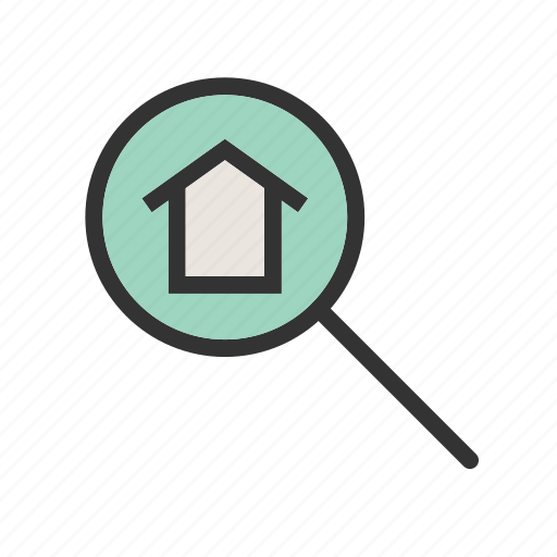 estate, home, house, magnifying, real, residential, search icon