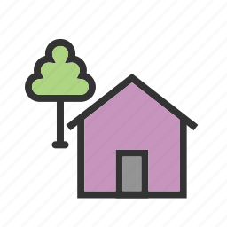 green, home, house, nature, summer, tree icon