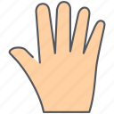 five, gesture, hand, high five, language, sign, wait icon