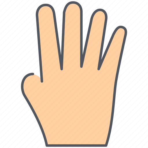 fingers, four, gesture, hand, language, number, sign icon