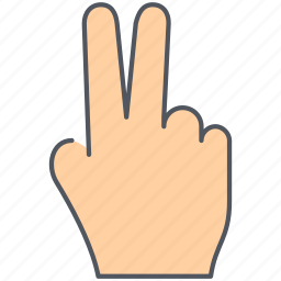 double, fingers, gesture, hand, language, peace, sign icon