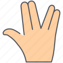 fingers, gesture, hand, language, salute, sign, vulcan icon