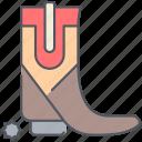 boot, cowboy, footwear, horse, ride, texas, wild west icon