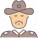 cowboy, patrol, police, security, sheriff, texas, wild west icon