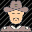 sheriff, cowboy, texas, wild west, patrol, police, security icon