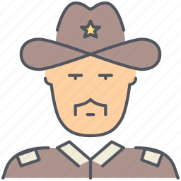 cowboy, patrol, police, security, sheriff, texas, wild west icon
