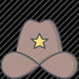 cowboy, hat, police, sheriff, texas, uniform, wild west icon