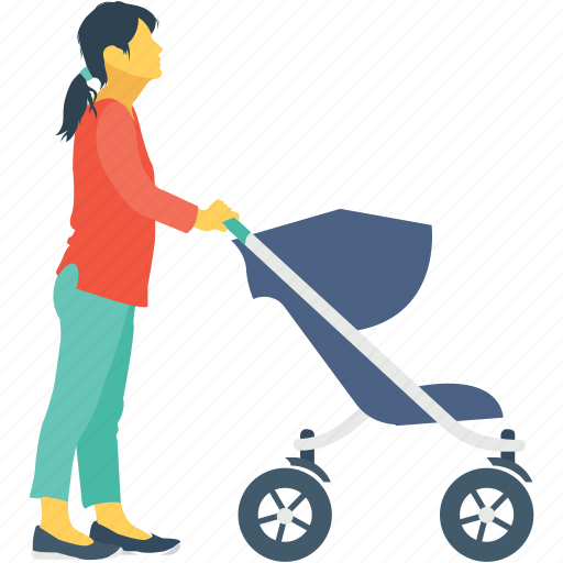 baby, baby stroller, kid, mother, stroller icon