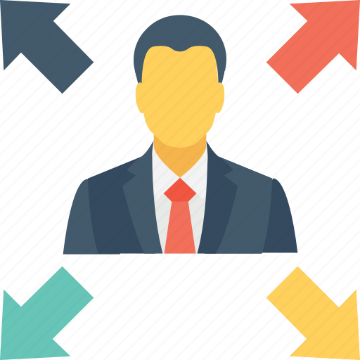 affiliate, arrows, business, businessman, opportunities icon