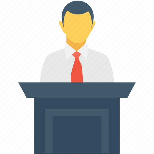 address, presentation, public speaker, seminar, speech icon