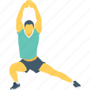 exercise stretching, gym, leg stretch, warm up, yoga icon