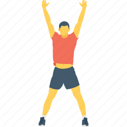 arms up, exercise, hands up, sports, stick man icon