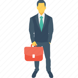 boss, briefcase, business person, businessman, tourist icon