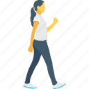 female, jogging, move, pedestrian, walking icon