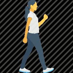 female, jogging, move, pedestrian, walking icon