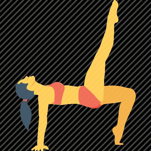 exercise, girl, stretching, workout, yoga icon